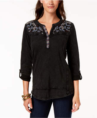 Style&Co. Style & Co Petite Cotton Embroidered Top