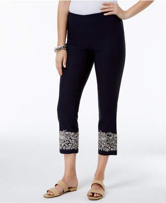 Charter Club Tummy-Control Embroidered Capri Pants