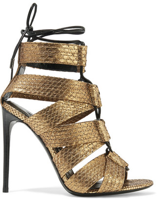 TOM FORD - Lace-up Metallic Python Sandals - Gold $1,950 thestylecure.com