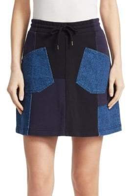 McQ Denim Patchwork Mini Skirt