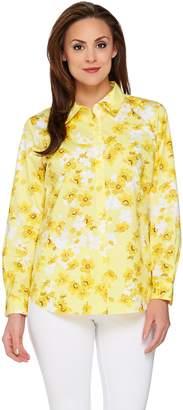 Susan Graver Printed Stretch Cotton Long Sleeve Button Front Shirt