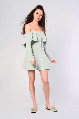 Glamorous Womens **Button Through Bardot Dress By Sage
