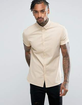 Asos Design Skinny Twill Shirt In Yellow