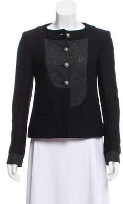 Chanel Tweed Lace-Paneled Jacket Black Tweed Lace-Paneled Jacket