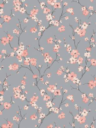 Arthouse ARTHOUSE Oriental Blossom Coral and Silver Wallpaper