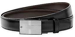 Montblanc Men's Rectangular Matte& Shiny Stainless Steel Roll Plate Buckle Leather Belt