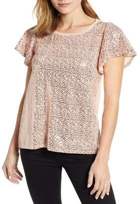 Gibson x Glam Squad Sequin Flutter Sleeve Top (Regular & Petite) (Nordstrom Exclusive)