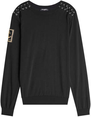 Balmain Wool Pullover with Lace-Up Shoulders