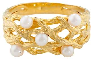Burlington London Road 9ct Yellow Gold and Pearl Willow Ring, Gold