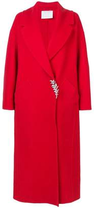 Oscar de la Renta long sleeve brooch coat