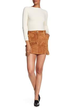 Helmut Lang Suede Mini Cargo Skirt