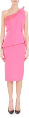 Roland Mouret Mendes One-Shoulder Asymmetric-Drape Peplum Slim Cocktail Dress