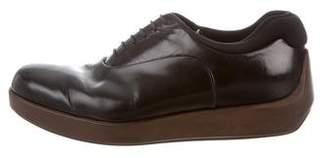 Prada Leather Square-Toe Oxfords