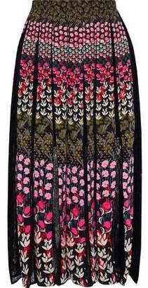 Saloni Petra Lace-paneled Pleated Floral-print Crepe Midi Skirt