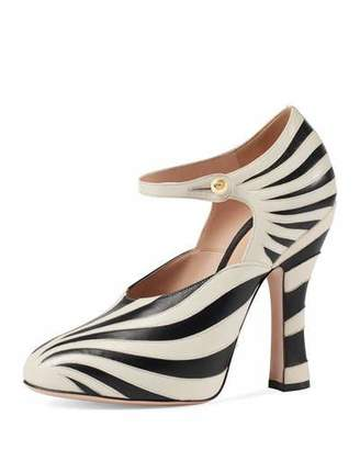 Gucci Lesley Zebra-Inlay Mary Jane Pump, Black/White $990 thestylecure.com