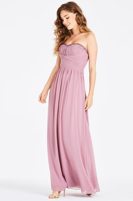 Little Mistress Chandra Blush Sequin Trim Bandeau Maxi Dress