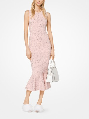 Michael Kors Embroidered Stretch-Viscose Trumpet Dress