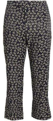 Ganni Cropped Floral-Print Crepe Flared Pants