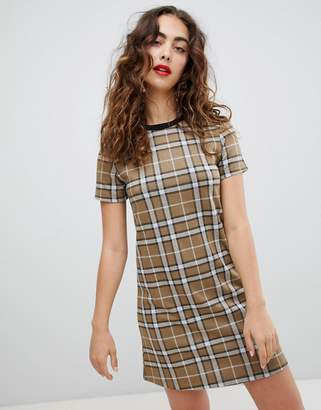 Stradivarius check short sleeve dress
