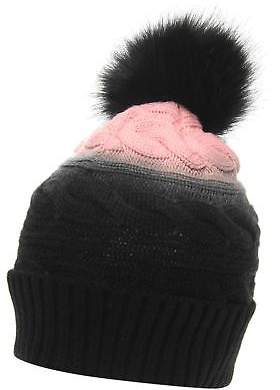 Golddigga Womens Axial Beanie Hat Bobble Warm Faux Fur