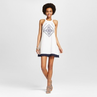 BLU·PEPPER Women's Embroidered Halter Shift Dress - Blu Pepper (Juniors') White $34.99 thestylecure.com