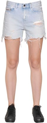 Splattered Cut Off Cotton Denim Shorts $120 thestylecure.com
