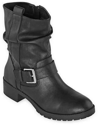 Arizona Womens Gwen Block Heel Zip Motorcycle Boots