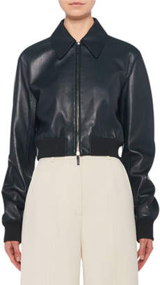 The Row Zarla Leather Collared Bomber Jacket