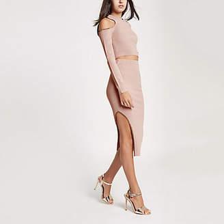 River Island Womens Pink knit cut out midi skirt