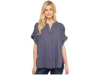 Heather Twill Voile Cuffed Sleeve Button Down Top Women's Clothing
