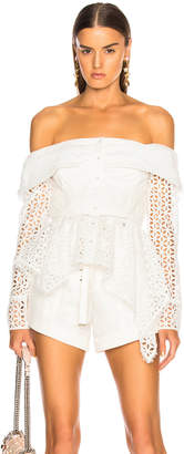 Self-Portrait Self Portrait Asymmetric Broderie Top