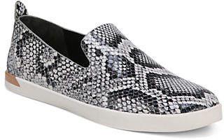 Vince Leather Snakeskin-Print Sneakers