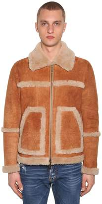 DSQUARED2 ZIPPED SUEDE JACKET W/ SHEARLING DETAILS