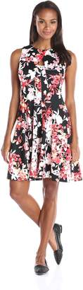 Julian Taylor Women's Floral Print Scuba Dress, Black/Coral