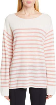 ADAM by Adam Lippes Stripe Cashmere & Silk Bateau Neck Sweater