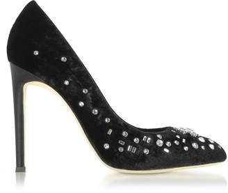 Giuseppe Zanotti Black Velvet High Heel Pumps w/Crystals