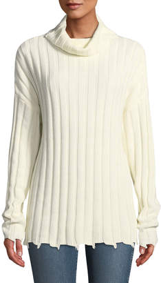 Moon River Raw-Hem Ribbed Turtleneck Sweater