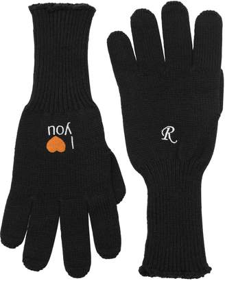 Raf Simons I Love You Embroidered Wool Gloves