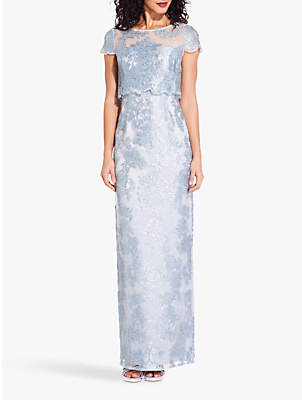Adrianna Papell Embroidered Popover Maxi Dress, Mist