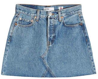 RE/DONE High-Waisted Denim Mini Skirt