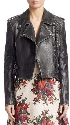 Metallic Braided Leather Jacket