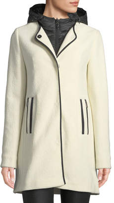 Bogner Susana Two-Piece Coat w/ Hood & Wool Overlay