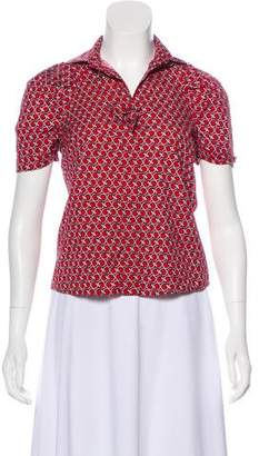 Gucci Printed Point Collar Top