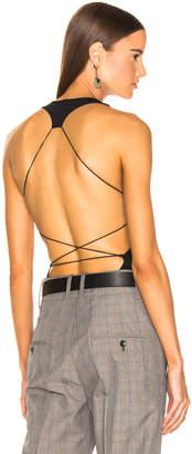 Alexander Wang Criss Cross Back Strap Bodysuit in Black | FWRD