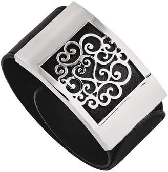 Steel By Design Stainless Steel Black Leatherette Scroll Wrap Bracelet