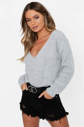 boohoo V Neck Fisherman Crop Jumper