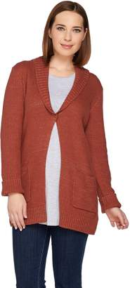Logo By Lori Goldstein LOGO by Lori Goldstein Melange Sweater Knit Cardigan w/ Shawl Collar