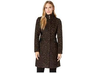 Via Spiga Leopard Stand Collar Wool Coat with Faux Leather Detail