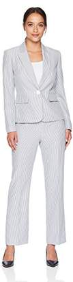 Le Suit Women's Petite Seersucker 1 Bttn Peak Lapel Pant Suit