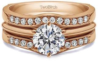 TwoBirch 2 Piece Bridal Set Includes: Guard and 1 Ct Solitaire ,Cubic Zirconia mounted in Sterling Silver. (2.4ctw)